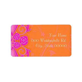 Tangering y rosas rosados que casan Lables Etiquetas De Dirección