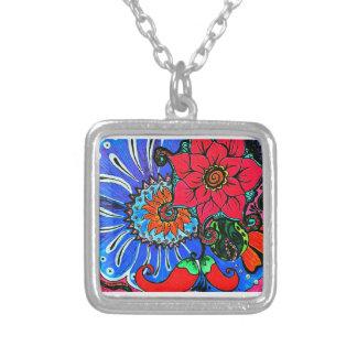 tangle floral illustration necklace