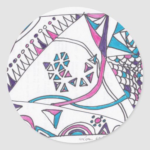 tangle kite round sticker
