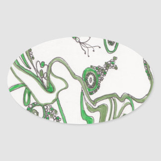 tangled bacterial mat oval sticker