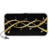 Tangled golden staff lines with musical notes iPad, iPhone, laptop portable speakers