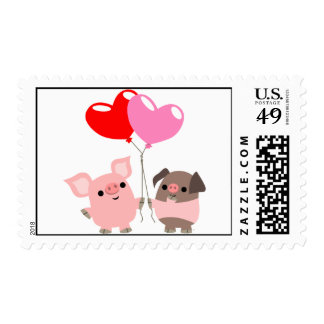 Tangled Hearts (Cartoon Pigs) postage stamp