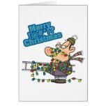 tangled in lights merry bleeping christmas cartoon greeting card
