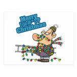 tangled in lights merry bleeping christmas cartoon postcard