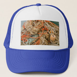 Tangled Rope And Fishing Equipment On Dock Trucker Hat
