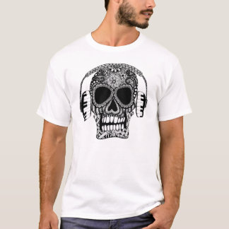 Tangled Skull and Headphones Mens T-Shirt