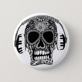 Tangled Skull with Headphones Button Pin