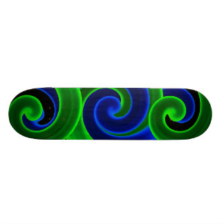 Tangled Swirls in Blue & Green Skateboard Deck