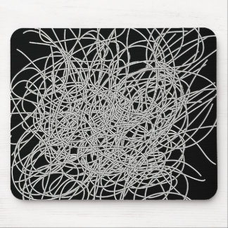 Tangled wires black and white mouse pad