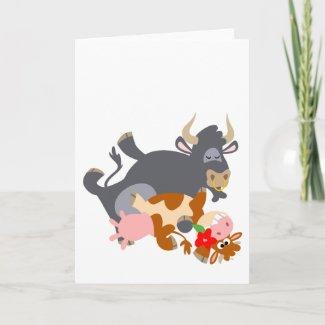 Tango!! (cartoon bull and cow) Greeting card card