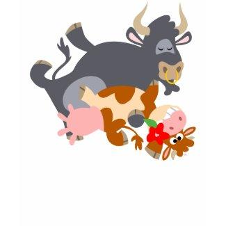 Tango!! (cartoon bull and cow) women T-shirt shirt