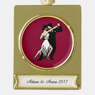 Tango Dancers Gold Plated Banner Ornament