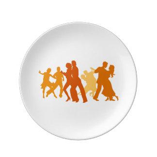 Tango Dancers Illustration Porcelain Plates