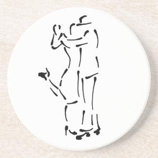 Tango Dancers Ink Brush design Drink Coaster