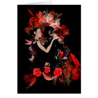 Tango dancers on red greeting card