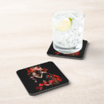 Tango dancers on red drink coasters