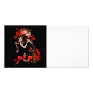 Tango dancers on red photo card