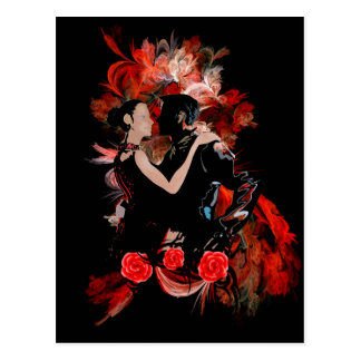 Tango dancers on red post card