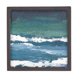 Tango de la decoración de la playa de las olas oce caja de recuerdo de calidad