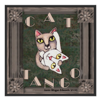 Tango del gato del vintage póster