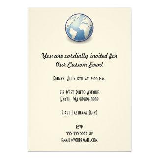 """Tango del globo del mundo de la tierra invitación 5"""" x 7"""""""