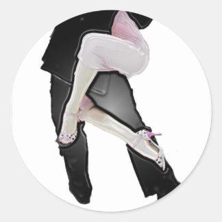 Tango legs pegatina redonda
