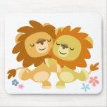 Tango lindo Mousepad de dos leones del dibujo anim Alfombrilla De Ratones