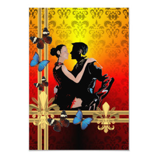 Tango on damask 3.5x5 paper invitation card