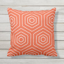 Tango Orange Geometric Pattern Outdoor Pillows