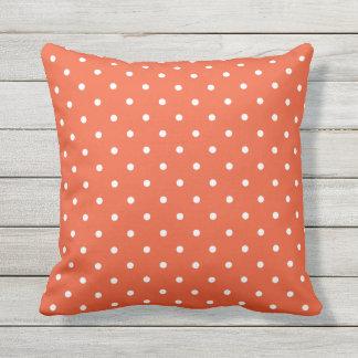 Tango Orange Outdoor Pillows - Polka Dot