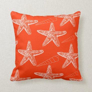 Beach Themed Tango Orange Seashell Pillow