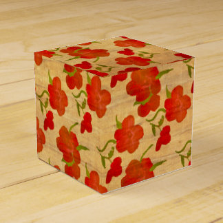 Tango Red Peonies on Gold Silk Favor Box