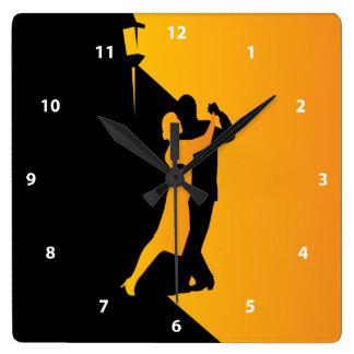 Tango Silhouette Dancers Square Wallclocks