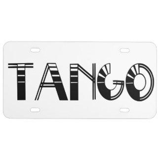 Tango Word License Plate