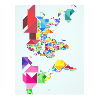 Tangram Abstract World Map Personalized Flyer