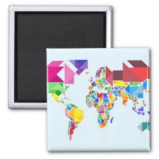 Tangram Abstract World Map Refrigerator Magnets