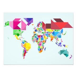 Tangram Abstract World Map Photo Print