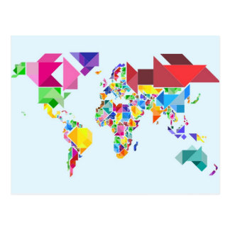 Tangram Abstract World Map Postcard