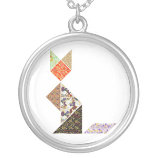 Tangram Cat Silver Plated Necklace