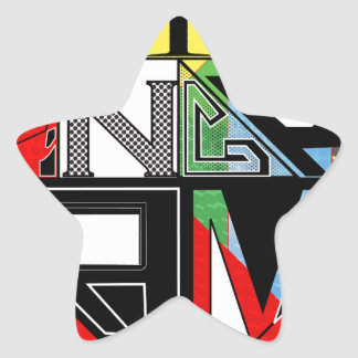 Tangram Design by: RokCloneDesigns  Multicolored T Star Sticker