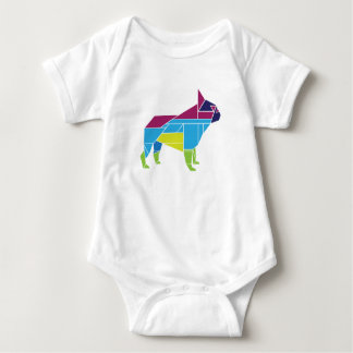 Tangram Frenchie, Multicolored Baby Bodysuit