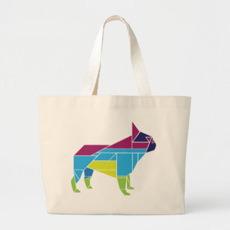 Tangram Frenchie, Multicolored Large Tote Bag