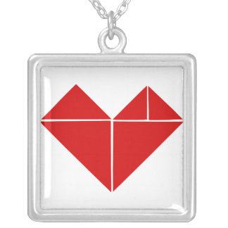 tangram heart love silver plated necklace