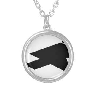 Tangram Running Person Silver Plated Necklace