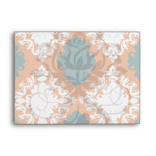 tangy orange teal white damask pattern envelope