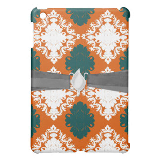 tangy orange teal white damask pern iPad mini cases