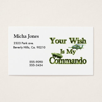 Tank And Heli Your Wish Is My Commando Business Card
