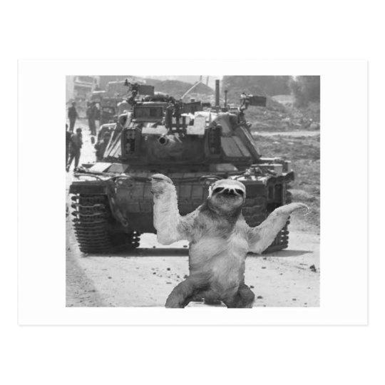 tank and sloth postcard