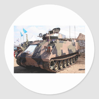 Tank: armored military vehicle classic round sticker