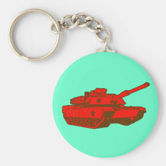 Tank Basic Round Button Keychain